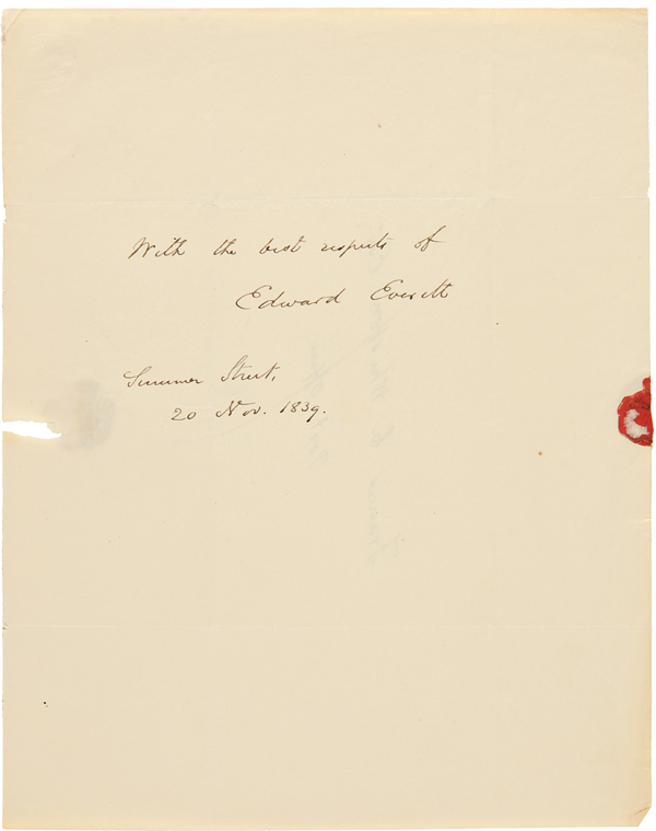 [AUTOGRAPH NOTE, SIGNED, FROM EDWARD EVERETT TO FRANCIS C. WHISTON]. Edward Everett.