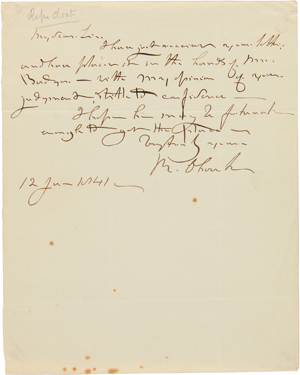 [AUTOGRAPH LETTER, SIGNED, FROM RUFUS CHOATE]. Rufus Choate.