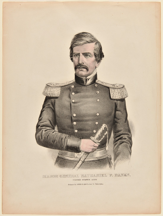[ LITHOGRAPHIC PORTRAIT OF MAJOR GENERAL NATHANIEL P. BANKS]. Nathaniel P. Banks.