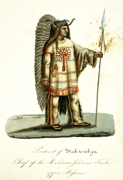 [PORTRAIT OF MAH-TO-TOH-PA, CHIEF OF THE MANDAN TRIBE OF THE UPPER MISSOURI]. Nicolino Calyo.
