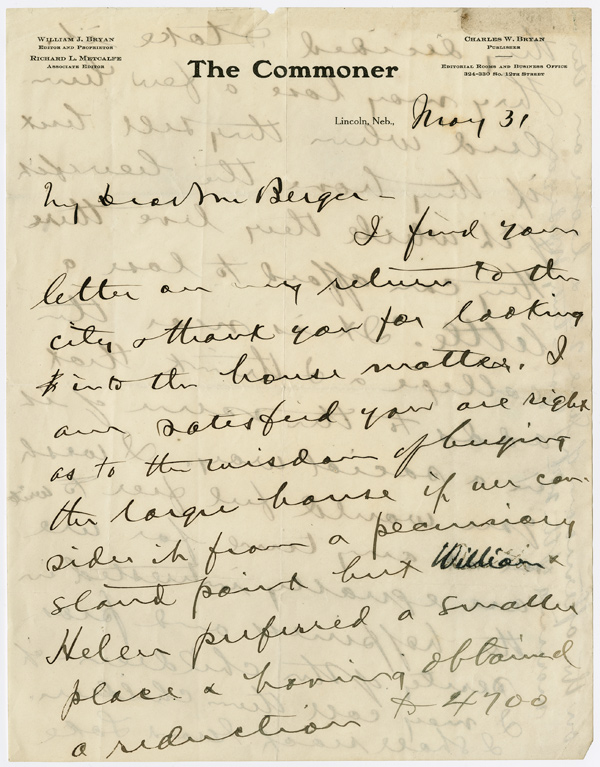 "[AUTOGRAPH LETTER, SIGNED, ON ""THE COMMONER"" LETTERHEAD, TO A MR. BERGER]. William Jennings Bryan."