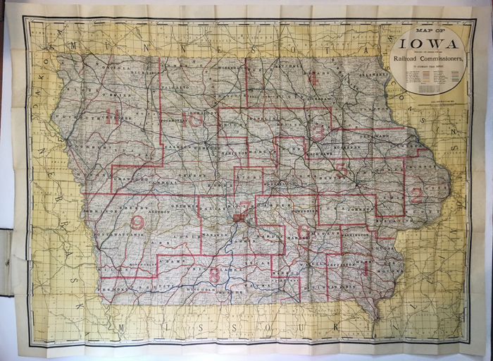 MAP OF IOWA PREPARED AND PRINTED FOR THE RAILROAD COMMISSIONERS. Iowa.