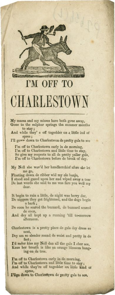 I'M OFF TO CHARLESTOWN [caption title]. Black Minstrel Song Sheet.