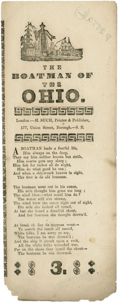 THE BOATMAN OF THE OHIO [caption title]. Black Minstrel Song Sheet.