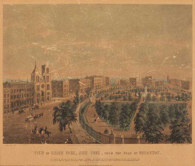 VIEW OF UNION PARK, NEW YORK, FROM THE HEAD OF BROADWAY. James After Smillie, Sarony, Lithographers Major.