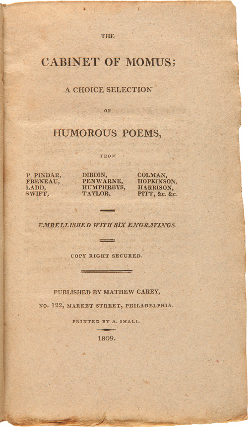 THE CABINET OF MOMUS; A CHOICE SELECTION OF HUMOROUS POEMS. Humor.