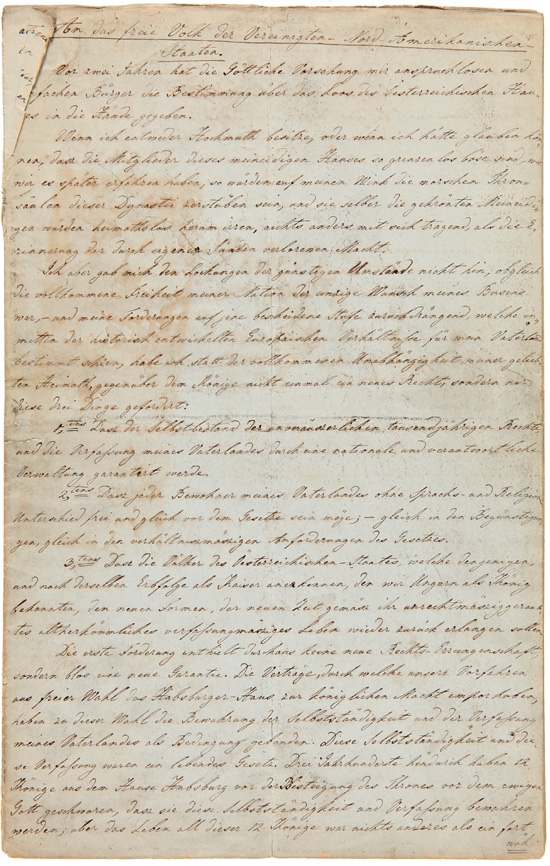 "[MANUSCRIPT IN GERMAN OF KOSSUTH'S APPEAL FOR HUNGARIAN FREEDOM, TITLED ""AN DAS FREIE VOLK DER VEREINIGTEN-NORD-AMERIKANISCHEN STAATEN,"" PREPARED BY LADISLAUS UGHAZI, A HUNGARIAN EXILE LIVING IN NEW-BUDA, IOWA]. Iowa, Louis Kossuth."