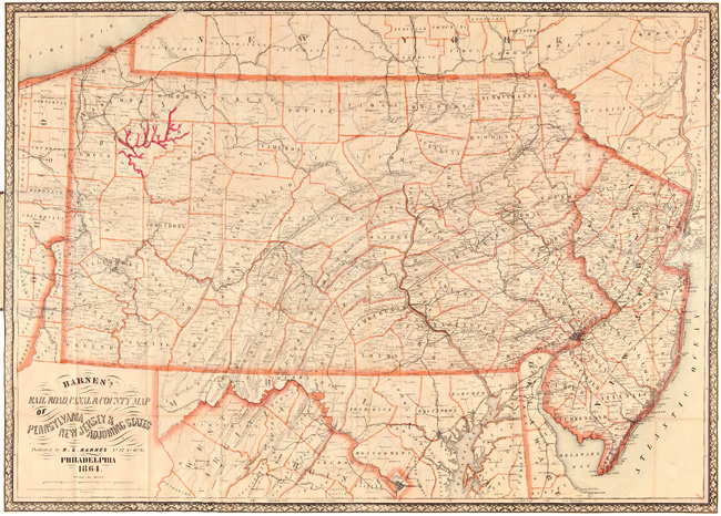 RAILROAD, CANAL & COUNTY MAP OF PENNSYLVANIA, NEW JERSEY & ADJOINING STATES. R. L. Barnes.