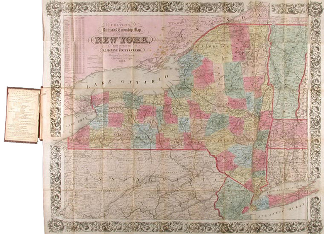 COLTON\'S RAILROAD & TOWNSHIP MAP OF THE STATE OF NEW YORK. WITH PARTS OF  THE ADJOINING STATES & CANADA by J. H. Colton on William Reese Company