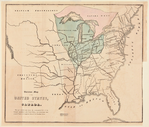 SKELETON MAP OF THE UNITED STATES, AND PART OF CANADA. American Baptist Board for Foreign Missions.