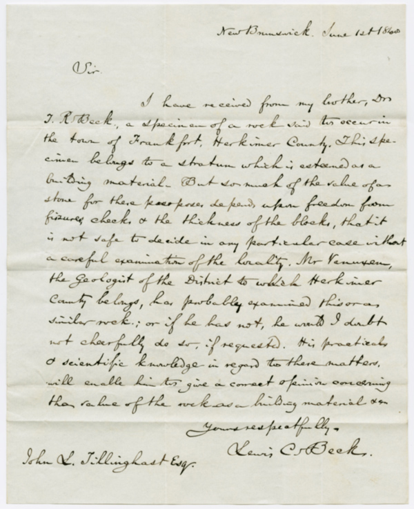 [AUTOGRAPH LETTER, SIGNED, REGARDING THE GEOLOGY OF HERKIMER COUNTY, NEW YORK]. Lewis C. Beck.