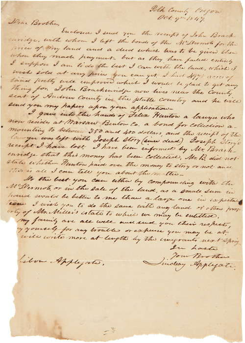 [AUTOGRAPH LETTER, SIGNED, FROM AN OREGON PIONEER REGARDING LAND CLAIMS IN MISSOURI]. Lindsay Applegate.