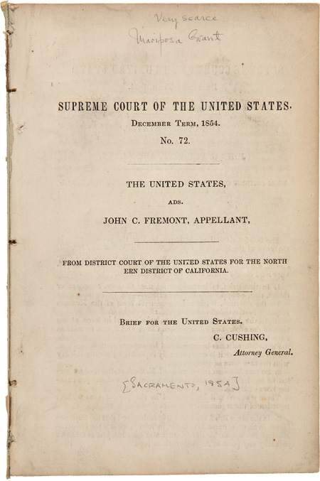 THE UNITED STATES, ADS. JOHN C. FREMONT, APPELLANT, FROM DISTRICT COURT OF THE UNITED STATES FOR THE NORTHERN DISTRICT OF CALIFORNIA. BRIEF FOR THE UNITED STATES. C. CUSHING, ATTORNEY GENERAL. Caleb Cushing, John Charles Fremont.