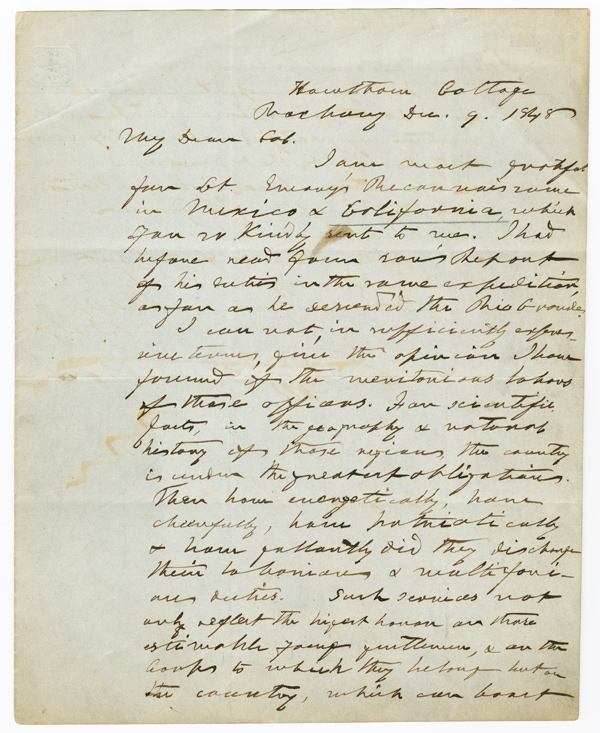 [AUTOGRAPH LETTER, SIGNED, FROM HENRY ALEXANDER SCAMMELL DEARBORN TO JOHN JAMES ABERT, ON UNITED STATES SURVEYING EXPEDITIONS]. Henry Alexander Scammell Dearborn.