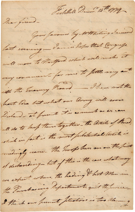 [AUTOGRAPH LETTER, SIGNED, FROM STEAM BOAT PIONEER JOHN FITCH TO HIS FRIEND, ROYAL FLINT, ON THE SITUATION OF THE CONTINENTAL ARMY IN NEW YORK]. John Fitch.