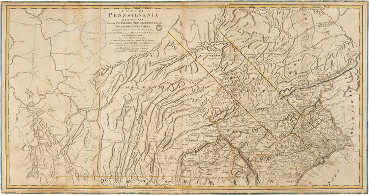 A MAP OF PENNSYLVANIA EXHIBITING NOT ONLY THE IMPROVED PARTS OF THAT PROVINCE, BUT ALSO ITS EXTENSIVE FRONTIERS: LAID FROM ACTUAL SURVEYS, AND CHIEFLY FROM THE LATE MAP OF W. SCULL, PUBLISHED IN 1770. Pennsylvania, William Scull.