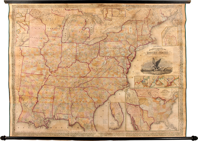 MITCHELL'S REFERENCE AND DISTANCE MAP OF THE UNITED STATES. S. Augustus Mitchell, J H. Young.