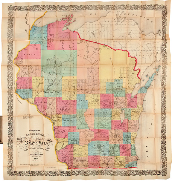 CHAPMAN'S SECTIONAL MAP OF WISCONSIN, WITH THE MOST RECENT SURVEYS. Silas Chapman, Wisconsin.