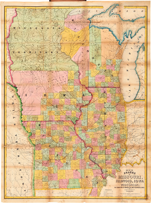 MAP OF THE STATES OF MISSOURI, ILLINOIS, IOWA, AND WISCONSIN: THE TERRITORY OF MINNESOTA, AND THE MINERAL LANDS OF LAKE SUPERIOR. I. S. Drake.