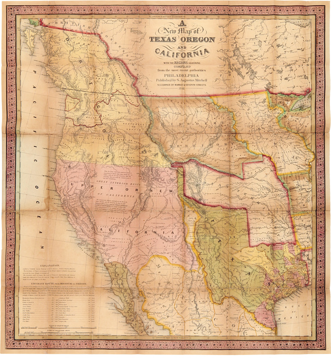 Map Of California To Oregon.Accompaniment To Mitchell S New Map Of Texas Oregon And California With The Regions Adjoining By S Augustus Mitchell On William Reese Company