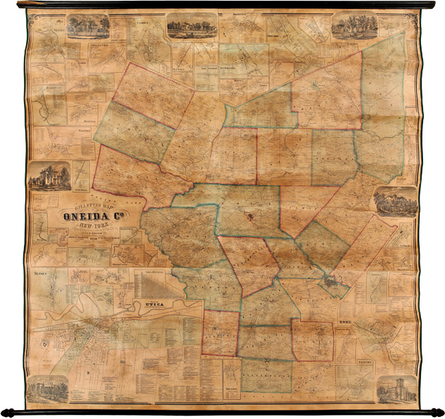 GILLETTE'S MAP OF ONEIDA CO. NEW YORK FROM ACTUAL SURVEYS UNDER THE DIRECTION OF J.H. FRENCH. S. N. Beers, D J. Lake, F W. Beers.