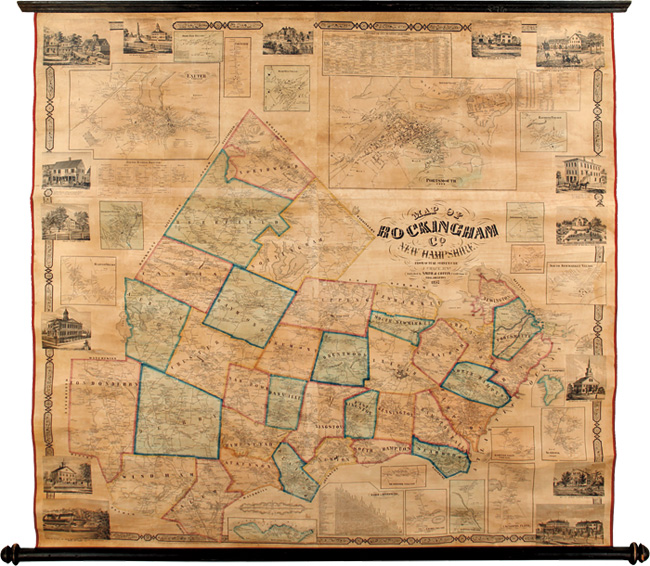MAP OF ROCKINGHAM CO. NEW HAMPSHIRE FROM PRACTICAL SURVEYS. J. Chace, Jr.