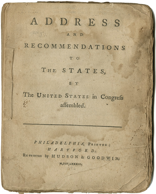 ADDRESS AND RECOMMENDATIONS TO THE STATES, BY THE UNITED STATES IN CONGRESS ASSEMBLED. James Madison.