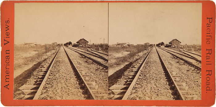 VIEWS ALONG THE LINE OF THE PACIFIC R.R. HOME STRETCH FROM OGDEN [caption title]. Central Pacific Railroad Stereocard.