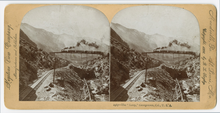 """THE """"LOOP,"""" GEORGETOWN, COL., U.S.A. [caption title]. Colorado Railroad Stereocard."""