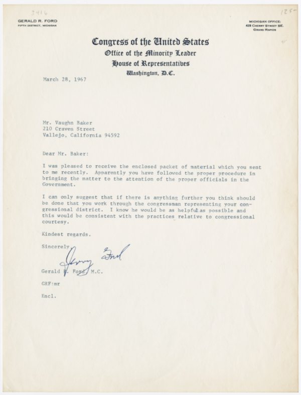 [TYPED LETTER, SIGNED BY GERALD R. FORD]. Gerald R. Ford.