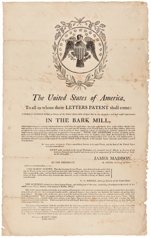 THE UNITED STATES OF AMERICA, TO ALL TO WHOM THESE LETTERS PATENT SHALL COME: WHEREAS LUTHER GALE, A CITIZEN OF THE UNITED STATES, HATH ALLEGED THAT HE HAS INVENTED A NEW AND USEFUL IMPROVEMENT IN THE BARK MILL...[caption title]. Luther Gale.