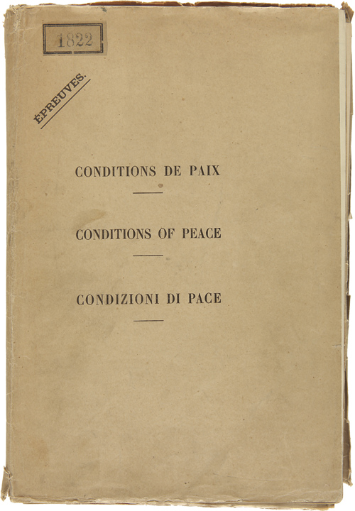 CONDITIONS OF PEACE WITH AUSTRIA [caption title printed in English, French, and Italian]. World War I. Treaties - Austria, Treaty of Saint Germain.
