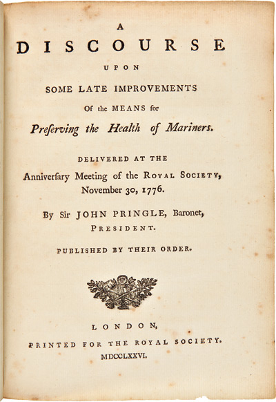 A DISCOURSE UPON SOME LATE IMPROVEMENTS OF THE MEANS FOR PRESERVING THE HEALTH OF MARINERS. DELIVERED AT THE ANNIVERSARY MEETING OF THE ROYAL SOCIETY. James Cook, John Pringle.
