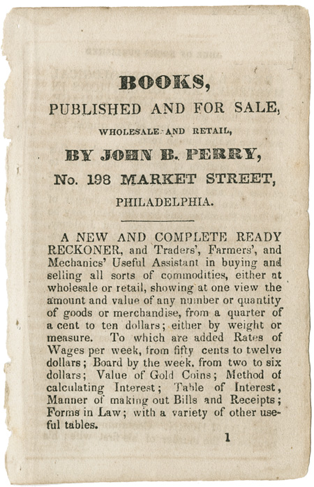 BOOKS, PUBLISHED AND FOR SALE, WHOLESALE AND RETAIL, BY JOHN B. PERRY, No. 198 MARKET STREET, PHILADELPHIA. American Bookseller's Catalogue.