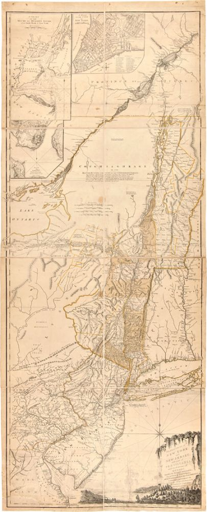 THE PROVINCES OF NEW YORK, AND NEW JERSEY; WITH PART OF PENSILVANIA [sic], AND THE PROVINCE OF QUEBEC. DRAWN BY MAJOR HOLLAND, SURVEYOR GENERAL, OF THE NORTHERN DISTRICT IN AMERICA. CORRECTED AND IMPROVED, FROM THE ORIGINAL MATERIALS, BY GOVERN.R POWNALL, MEMBER OF PARLIAMENT, 1776. Samuel Holland.