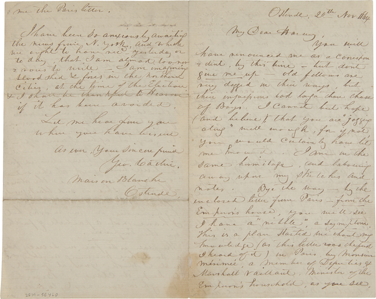 [AUTOGRAPH LETTER, SIGNED, FROM GEORGE CATLIN TO AMERICAN ARTIST GEORGE HARVEY, RELATING AN OFFER FROM THE FRENCH EMPEROR TO BUY CATLIN'S AMERICAN INDIAN PAINTINGS]. George Catlin.