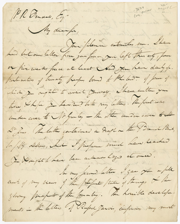 [AUTOGRAPH LETTER, SIGNED, FROM PHILADELPHIA PUBLISHER MATHEW CAREY TO WASHINGTON, D.C. EDITOR AND ATTORNEY PHILIP R. FENDALL, JR., REGARDING FINANCIAL ACCOUNTS, AND CAREY'S VIEWS ON THE STATE OF THE NATION]. Mathew Carey.
