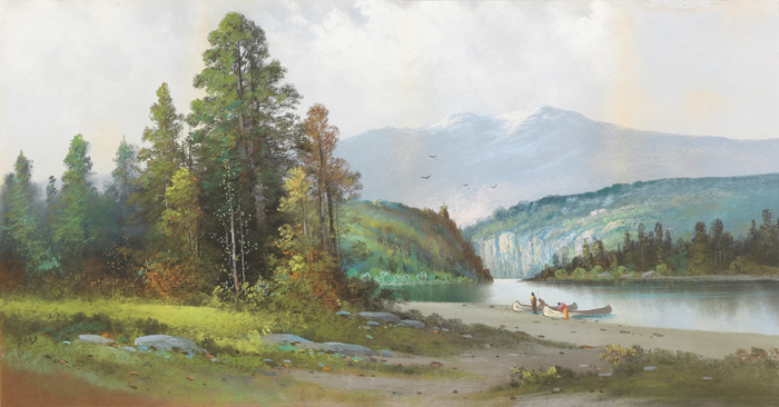[PASTEL PAINTING OF A SCENE IN THE PACIFIC NORTHWEST, PROBABLY THE COLUMBIA RIVER, WITH INDIANS LANDING CANOES ON A RIVERBANK, AND SNOWCAPPED MOUNTAINS IN THE DISTANCE]. George Gibbs.