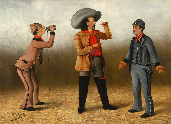"""[BUFFALO BILL AND THE """"FRENCHMAN'S BOTTLE GAG,"""" A COMIC TABLEAU FROM THE WILD WEST SHOW]. Alfred Agoust."""