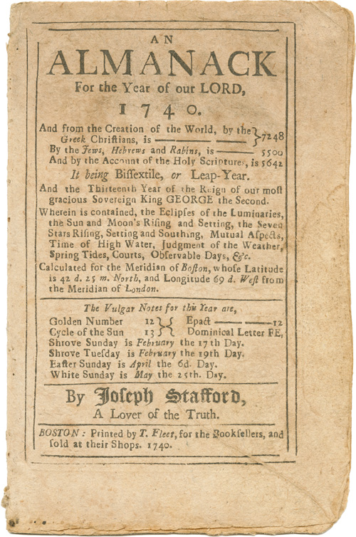 AN ALMANACK FOR THE YEAR OF OUR LORD CHRIST, 1740. Joseph Stafford.