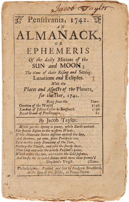 PENSILVANIA, 1742. AN ALMANACK, OR EPHEMERIS. Jacob Taylor.