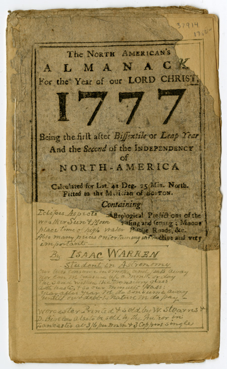 THE NORTH AMERICAN'S ALMANACK FOR THE YEAR OF OUR LORD CHRIST, 1777. Isaac Warren.