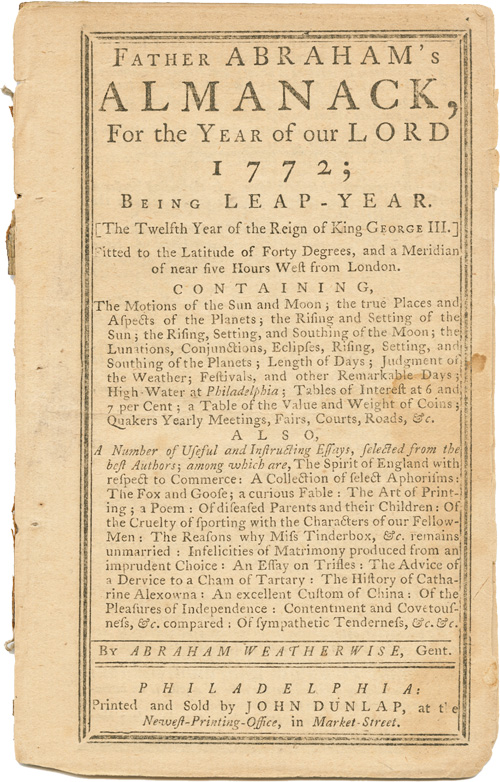 FATHER ABRAHAM'S ALMANACK, FOR...1772...BY ABRAHAM WEATHERWISE, GENT. John Tobler.
