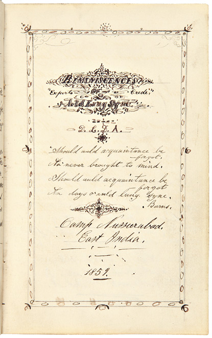 """REMINISCENCES OF AULD LANG SYNE [manuscript title, including a chapter of adapted California Fiction entitled """"WESTWARD HO""""]. California Fiction, Douglas D. Lindsay."""