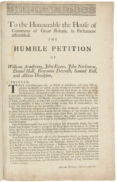 TO THE HONOURABLE THE HOUSE OF COMMONS OF GREAT BRITAIN, IN PARLIAMENT ASSEMBLED. THE HUMBLE PETITION OF WILLIAM ARMSTRONG, JOHN EVANS, JOHN NORBOURNE, DANIEL HALL, BENJAMIN DEVENISH, SAMUEL BALL, AND ALBION THOMPSON...[caption title]. Maine.