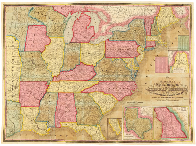A ROUTE-BOOK, ADAPTED TO MITCHELL'S NATIONAL MAP OF THE AMERICAN REPUBLIC; COMPRISING TABLES OF THE PRINCIPAL RAIL-ROAD, STEAM-BOAT AND STAGE ROUTES, THROUGHOUT THE UNITED STATES. S. Augustus Mitchell.