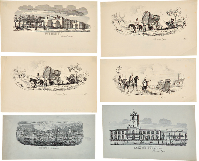 [GROUP OF SIX LITHOGRAPHIC VIGNETTES OF SCENES IN AND AROUND BUENOS AIRES]. Argentina.