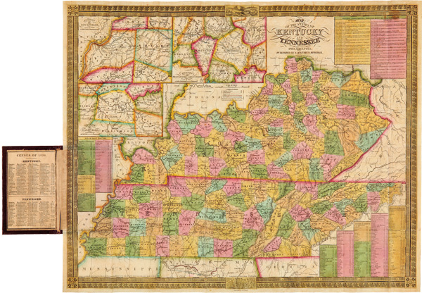MAP OF THE STATES OF KENTUCKY AND TENNESSEE. S. Augustus Mitchell.