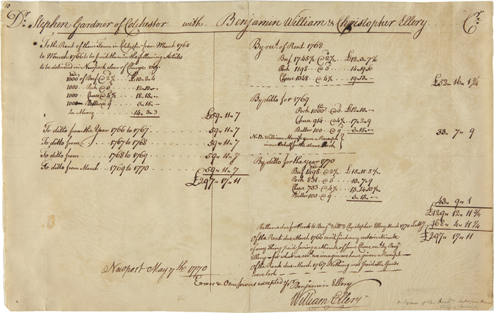 [MANUSCRIPT BILL, SIGNED BY DECLARATION OF INDEPENDENCE SIGNER, WILLIAM ELLERY, DETAILING THE SUMS OWED AND PAID TO ELLERY AND HIS BROTHERS BY DR. STEPHEN GARDNER ON A FARM IN COLCHESTER]. William Ellery.