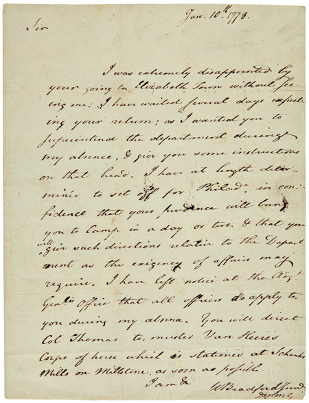 [AUTOGRAPH LETTER, SIGNED, FROM WILLIAM BRADFORD, JR. TO JOSEPH CLARK, LEAVING CLARK IN CHARGE WHILE BRADFORD IS AWAY]. William Bradford, Jr., Valley Forge.